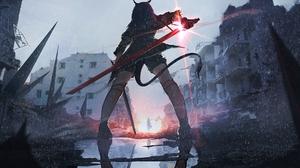 Lifeline Anime Girls Arknights Chen Arknights Low Angle Rain Sword Ruins 2156x1080 Wallpaper