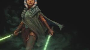 Ahsoka Tano Star Wars Girl Skirt Pantyhose Lightsaber Weapon Yellow Lightsaber Green Lightsaber Belt 1920x1577 Wallpaper