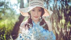 Asian Brunette Depth Of Field Girl Hat Model Sunny Twintails Woman 7360x4912 wallpaper