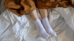 Socks White Socks Short Socks Legs Feet In Bed Linen Robe High Angle Women Women Indoors Model 3008x1688 Wallpaper