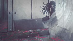 Anime Anime Girls Long Hair Black Hair Black Dress Petals Curtains Couch Ribbons 1844x1037 Wallpaper