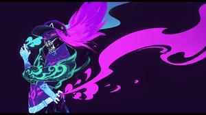 ArtStation Digital Art Kan Liu Artwork Illustration Fan Art K DA Akali League Of Legends Akali Neon  1680x800 Wallpaper