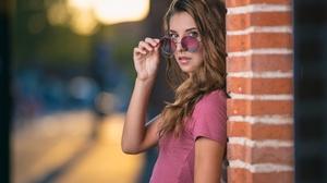 Brown Eyes Brunette Depth Of Field Girl Model Sunglasses Woman 2048x1365 Wallpaper