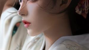 J Won Han Drawing Women Asian Mask Brunette Looking Away Portrait Dress White Clothing 1689x3000 Wallpaper
