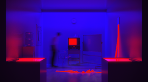 Neon Neon Lights CGi Digital Art Render Red Blue TV Office Abstract 2560x1439 Wallpaper
