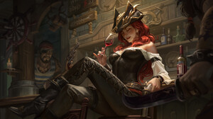 Hou China Digital Art Artwork Digital Painting Women Sword Wine Gun Pirate Hat Knife Redhead Pub Dar 3840x1920 Wallpaper