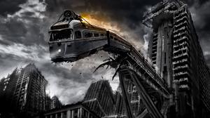 Artwork Digital Art Apocalyptic Train Tram City Building Ruins Falling Bridge Horror Low Angle Monoc 2560x1600 Wallpaper