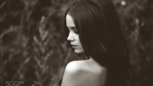 Ksenia Kokoreva Women Long Hair Straight Hair Dress Bare Shoulders Portrait Monochrome Sepia Depth O 2000x1389 Wallpaper