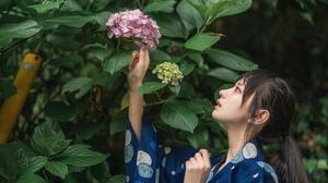 Long Hair Women Asian Flowers Plants 4032x2688 Wallpaper