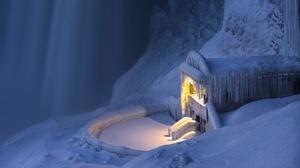 Niagara Falls Frost Winter Ice Cold Snow Tilt Shift 3072x2049 Wallpaper