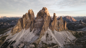 Tre Cime Di Lavaredo Mountains Rocks Snow Landscape Nature 3000x2250 Wallpaper