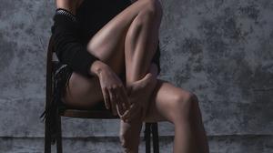 Alice Dufour Women Model Actress French Women Studio Simple Background Dark Hair Short Hair Feet Leg 853x1280 Wallpaper