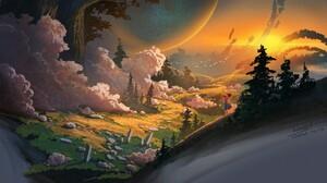 Digital Art Landscape Clouds Forest Violin Birds Kael 1920x1200 wallpaper
