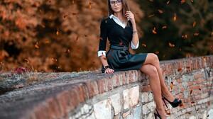 Woman Girl High Heels Glasses Brunette 2000x1334 Wallpaper