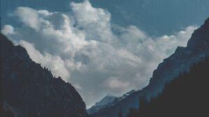 Mountains Clouds Blue Teal Monochrome Glitch Art 6000x4000 wallpaper
