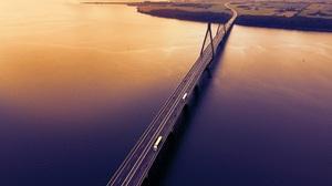Bridge Road Car Sunset Gradient Aerial Evening Water River Highway Vehicle Sunlight Yellow Farm 3840x2160 Wallpaper