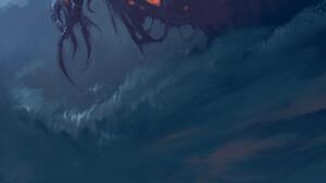 Digital Art H P Lovecraft Creature Nature Mountains Clouds 1920x2716 wallpaper