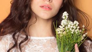 Women Ukrainian Brunette White Dress Hazel Eyes Flowers Long Hair Portrait Display Looking At Viewer 2560x3840 Wallpaper