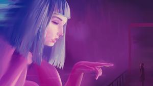 Neon Painting Noir Blade Runner 2049 Joi Hologram Ana De Armas Digital Art Purple 3000x2000 Wallpaper
