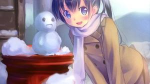 Black Hair Blush Coat Long Hair Scarf Smile Snow Snowman Twintails 2120x1816 Wallpaper