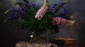 Book Colors Flower Lupine Pink Flower Purple Flower Still Life Vase 1920x1409 Wallpaper
