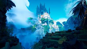 Tyler Smith Digital Art Castle Waterfall Landscape Fantasy Art 3840x2160 Wallpaper