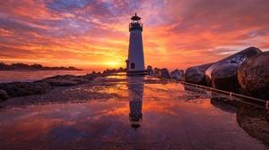 Building Reflection Sunrise Sky 2048x1365 wallpaper