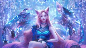 League Of Legends Ahri Ahri League Of Legends Fox Ears Crystal 1920x1080 Wallpaper