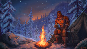 Digital Art Digital Ilya Vatutin Campfire Snow Snowing Forest Trees Wolf World Of Warcraft Classic I 1920x1080 Wallpaper