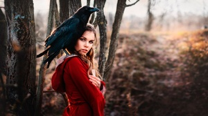 Brunette Crow Depth Of Field Girl Model Woman 2000x1125 Wallpaper