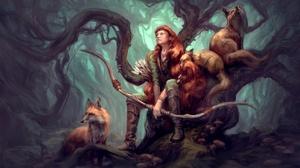 Animal Archer Bow Fox Girl Long Hair Orange Hair Woman Warrior 3840x2424 Wallpaper