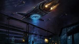 Spaceship Artwork Digital Art Science Fiction Night Futuristic Concept Art Glowing Lights Slum Flyin 6554x4500 wallpaper