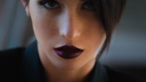 Women Model Face Makeup Lipstick Women Indoors Brunette Purple Lipstick Closeup 1367x2048 Wallpaper
