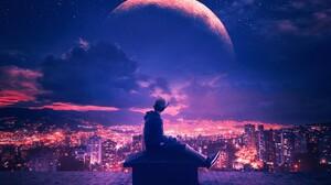 Planet Sky City Purple Night Light Man 2000x1317 wallpaper