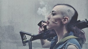 War Smoke Weapon Cigars Sig SG 552 Tank Girl Side Shave Women Sidecut Band Aid 2560x1600 Wallpaper
