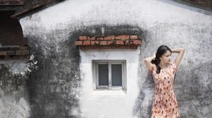Asian Model Women House Wall Black Hair Standing Dress Summer Dress Arms Up Looking Away 2400x1800 Wallpaper