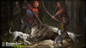 Kingdom Come Deliverance Artwork Knight Forest Bow And Arrow Archer Hunt Hunter Wild Boar Dog 1600x900 Wallpaper