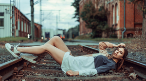 Women Model Depth Of Field Looking At Viewer Parted Lips Brunette Hair In Face Dress Sneakers Railwa 4000x2668 Wallpaper