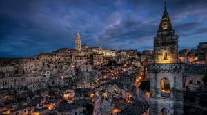 Town Matera Italy Lights 3840x2160 Wallpaper