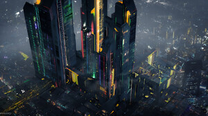 Ianika Morano City Building Cityscape Digital Art Futuristic Artwork Futuristic City City Lights Top 2000x1000 Wallpaper