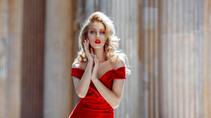 Woman Girl Depth Of Field Red Dress Blonde Lipstick Blue Eyes 4000x2250 Wallpaper