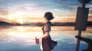 Girl School Uniform Schoolgirl Sun 2000x1193 Wallpaper