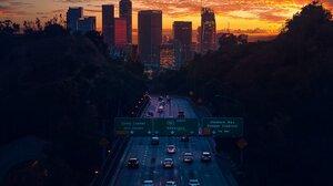 Highway Building City Sunset Portrait Display Car Road 1638x2048 Wallpaper