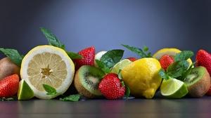 Kiwi Lemon Lime Strawberry 5616x3744 Wallpaper