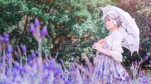 Asian Dress Girl Model Umbrella Woman 4000x2670 wallpaper