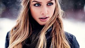 Marina Laswick Model Long Hair Outdoors Blonde Leather Jackets Snow Women Outdoors Cold Winter Dyed  1080x1350 wallpaper