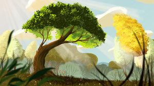 Digital Art Nature Landscape Trees Plants Field Flowers David Pavon Artwork 2800x1575 Wallpaper