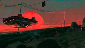 Artwork Digital Art Sunset Car 3840x1646 Wallpaper