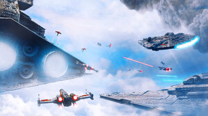 Star Wars Digital Art Science Fiction Battle Star Destroyer Imperial Forces Millenium Falcon X Wing 3840x1463 Wallpaper