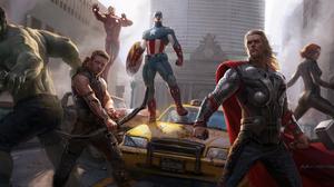 Black Widow Captain America Hawkeye Hulk Iron Man Natasha Romanoff Thor 6400x2553 Wallpaper
